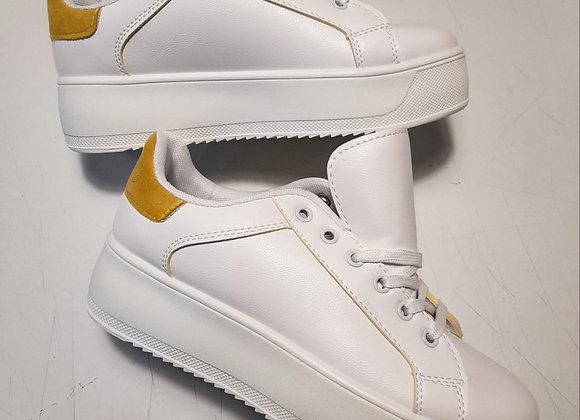 Sneakers plateau bianche inserto giallo