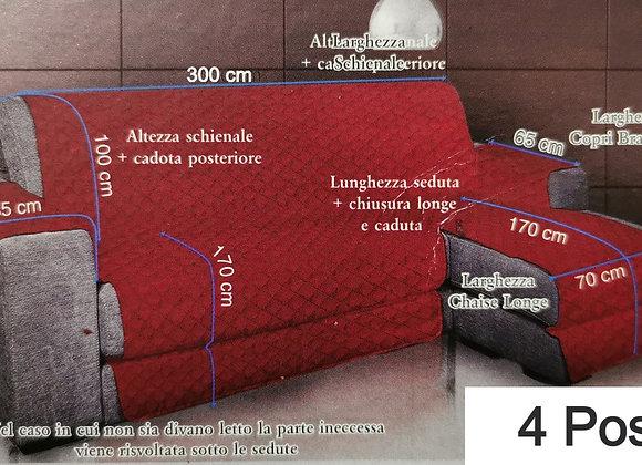 Salvadivano copri divano letto trapuntato. Con penisola a destra e a sinistra. 2 3 4 posti