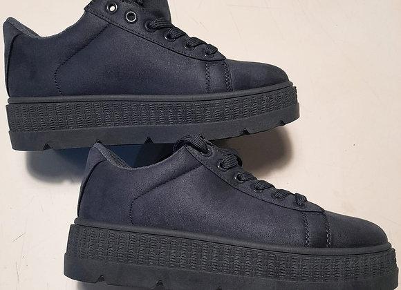 Sneakers plateau suede nero