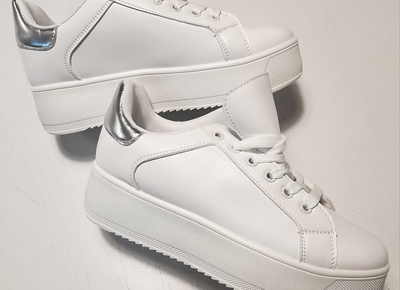 Sneakers plateau bianche inserto argento