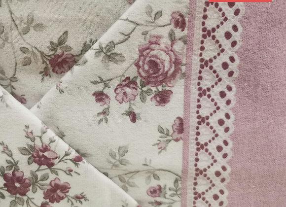 Completo Letto Flanella Floreale rosa