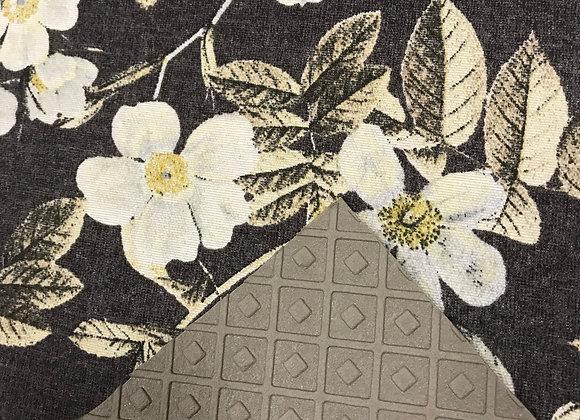Tappeto Passatoia Nero con fiori bianchi al taglio al metro