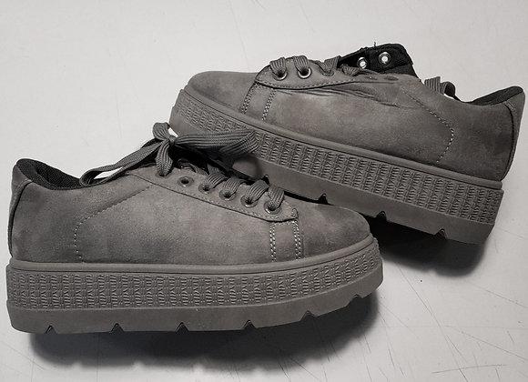 Sneakers plateau suede grigio