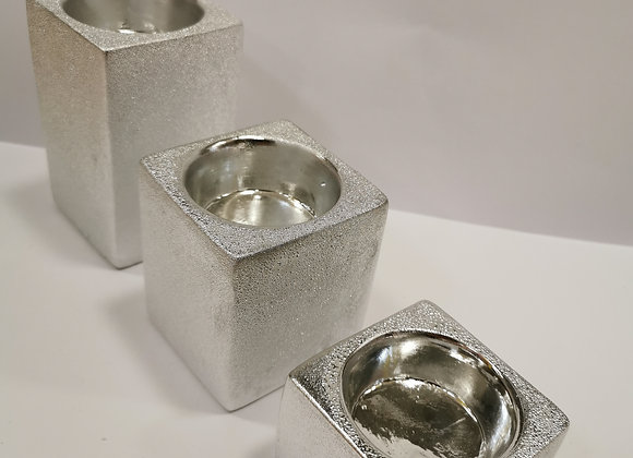 Set 3 Portacandela argento