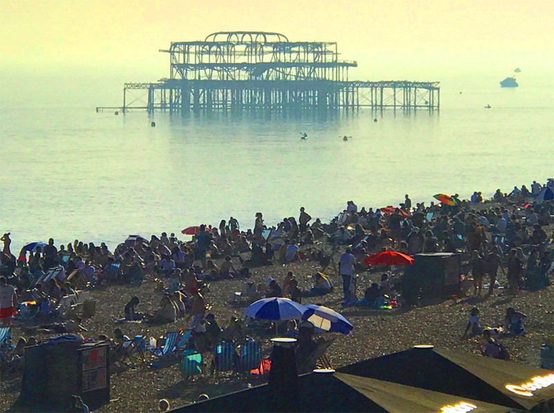 Bank holiday Brighton beach