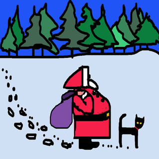 Trevor the Black cat at Christmas