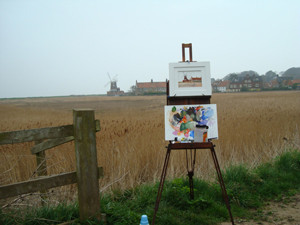 'Plein air' painting is painting outdoors.