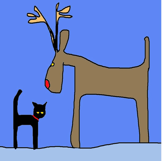 Trevor the Black Cat and Reindeer