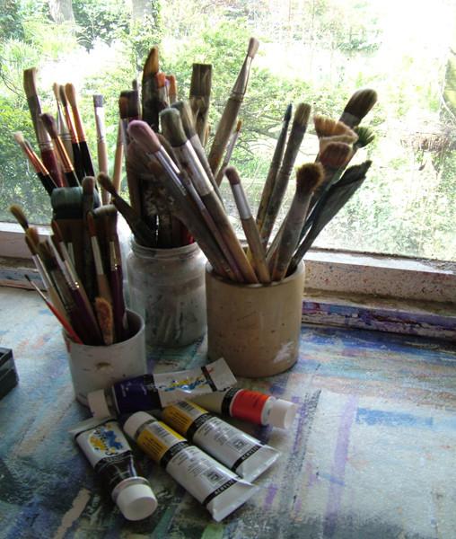 Brushes in my studio.