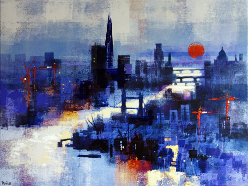 London Twilight. Acrylograph by Colin Ruffell