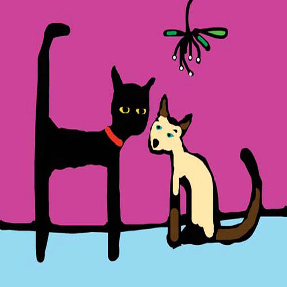 Trevor the Black cat and Mistletoe