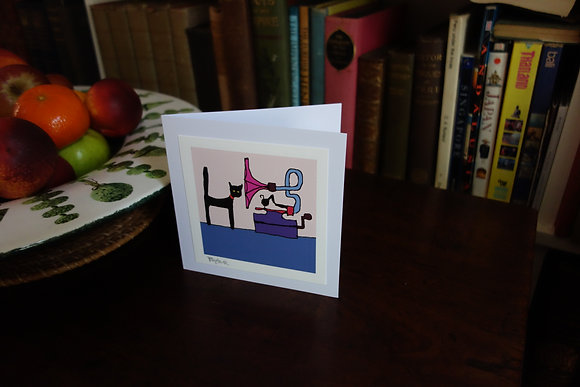 CAT MUSIC LOVER signed greetings card