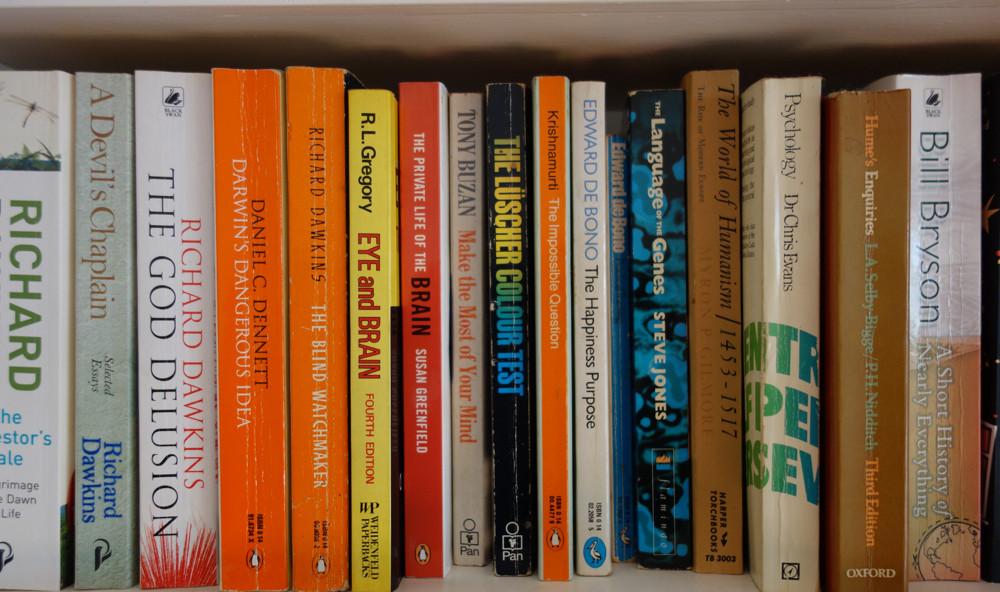 Richard Dawkins books on my shelf.