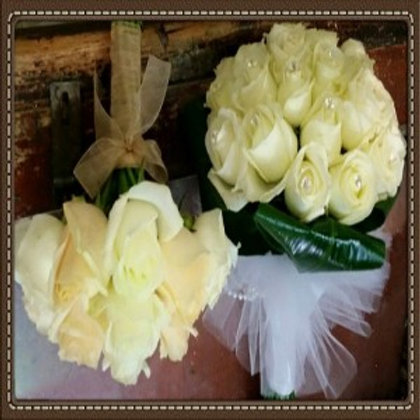 זר כלה ורדים לבנים
