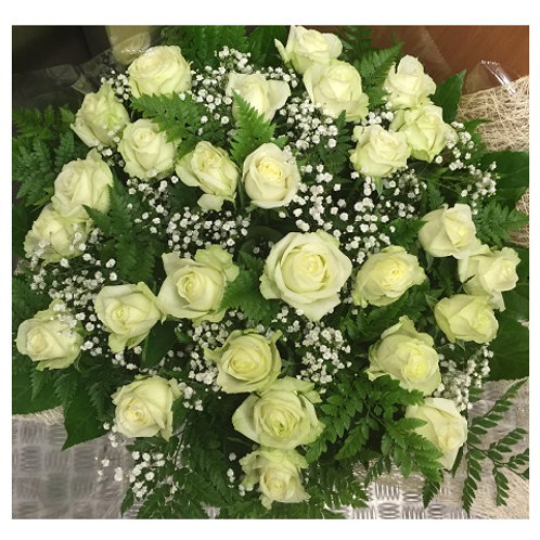 זר ורדים לבן