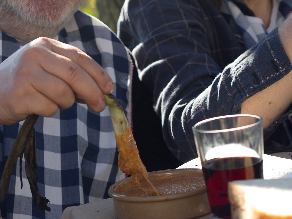 """salvitxada"" sauce, made with almonds, hazelnuts, olive oil, garlic,tomato and vinegar."