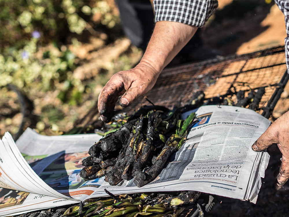 """the burned exterior part is peeled away, and calçot is dipped in """"salvitxada"""" sauce"""
