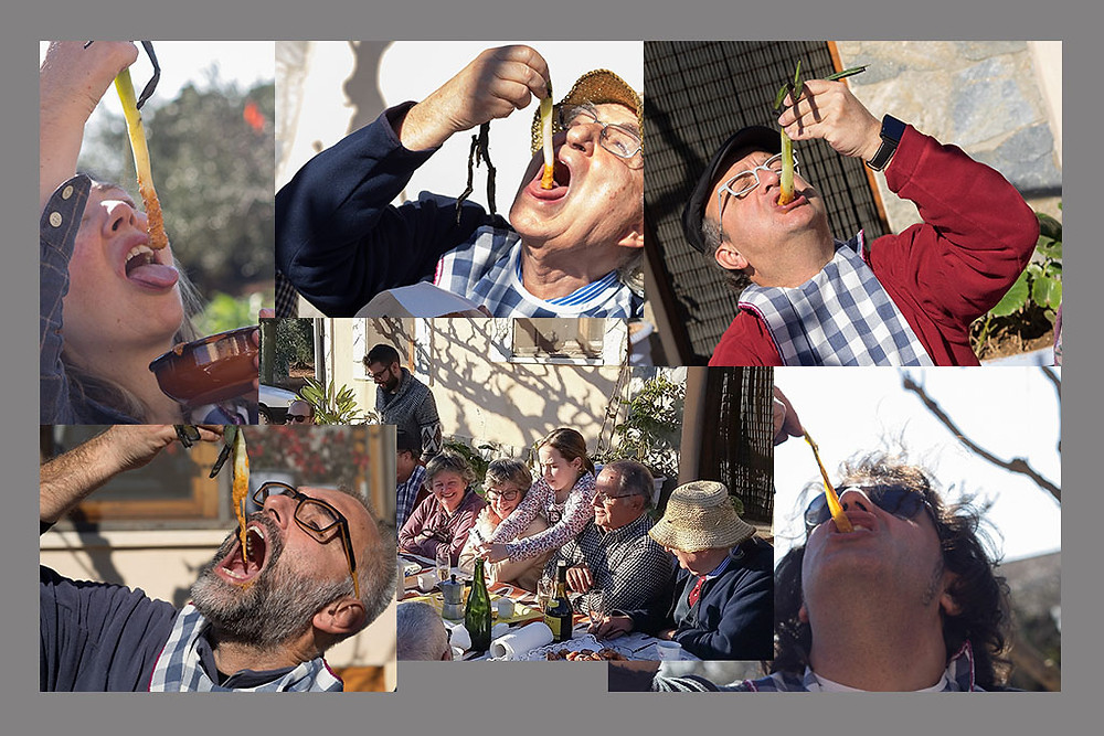 The traditional way to eat calçots.
