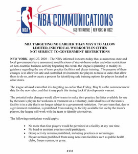 NBA Reopens Team Training Facilities To Small Groups Or Individual Workouts