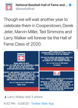 MLB 2020 Hall Of Fame Induction Ceremony Postponed To 2021