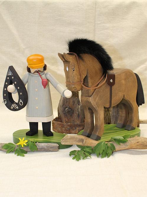 Räuchermann Kutscher mit Pferd
