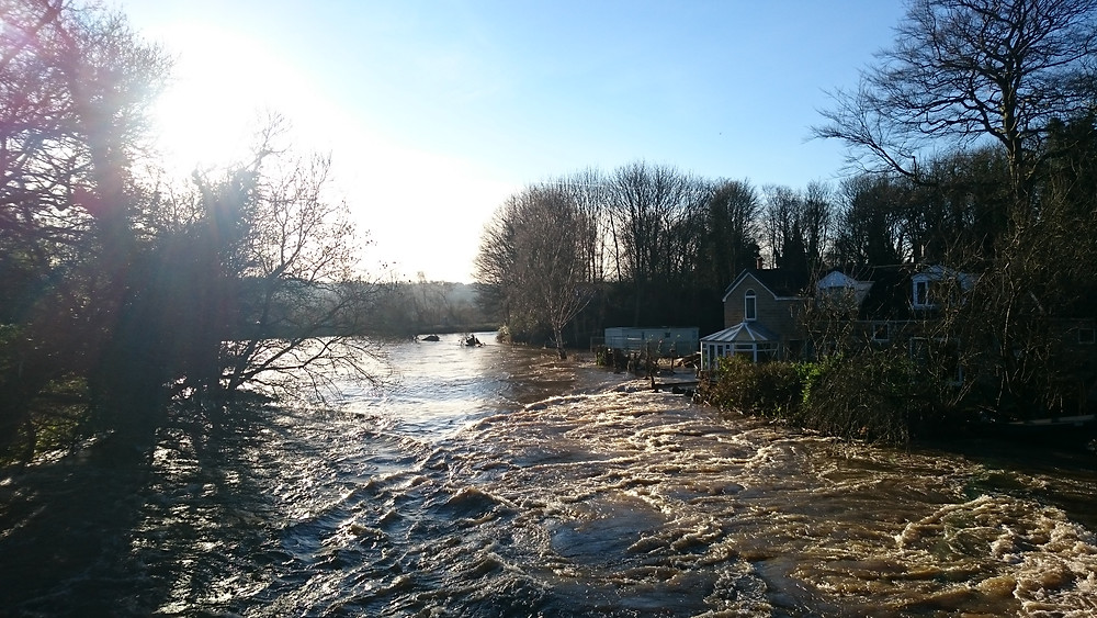 A swollen River Aire between Horsforth and Leeds
