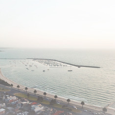 General photo. Drone photography above St Kilda beach.