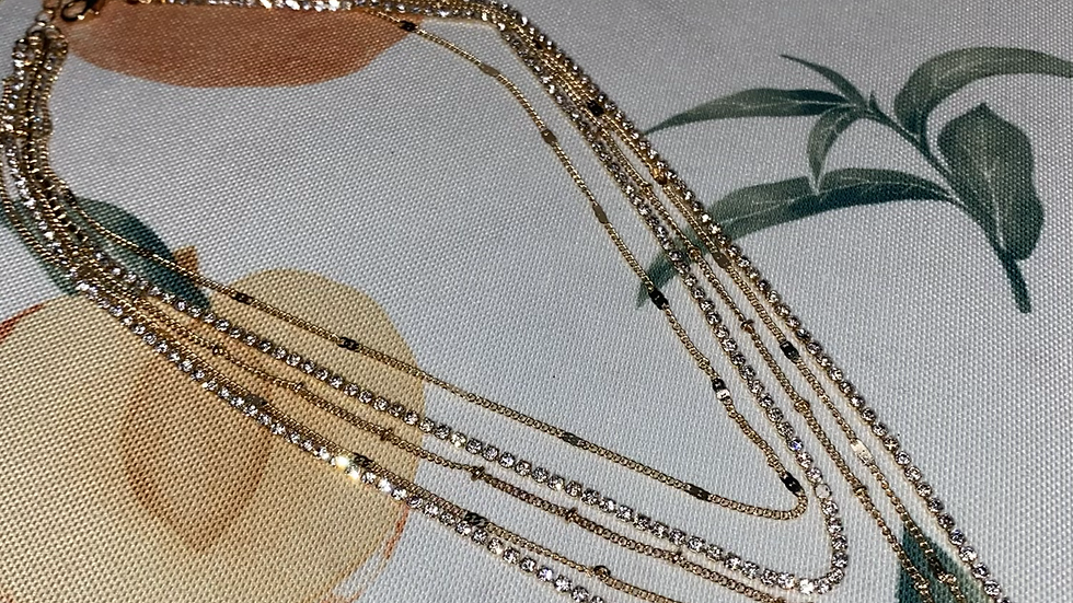 Rhinestone chain multi necklace