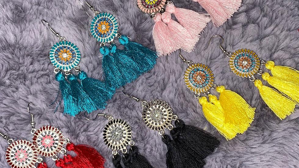 Alloy flower tassel earrings