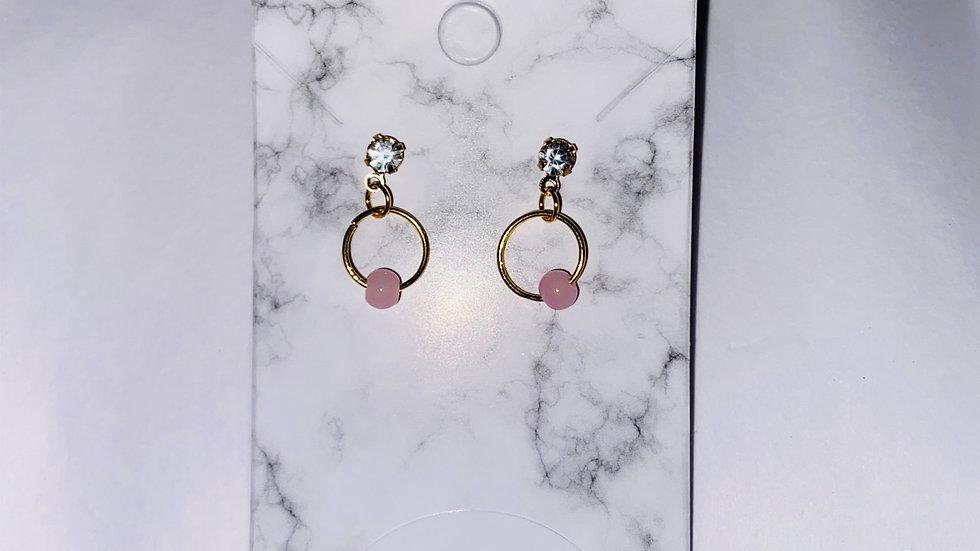 Princess pink pearl earrings