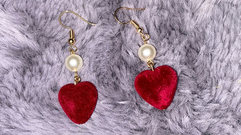 Velvet  Heart Earrings