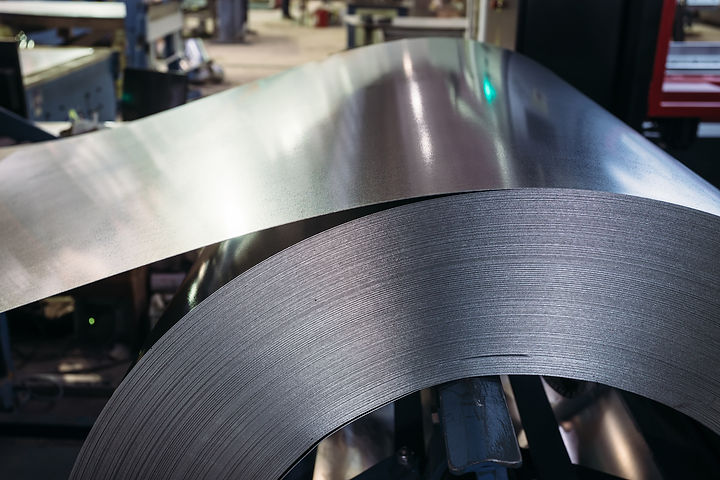 Roll of galvanized steel sheet. Close up
