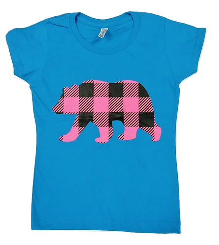 3362-Plaid Bear Hot Pink