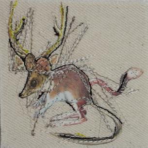 Muis -collage papier textiel Judith Koni