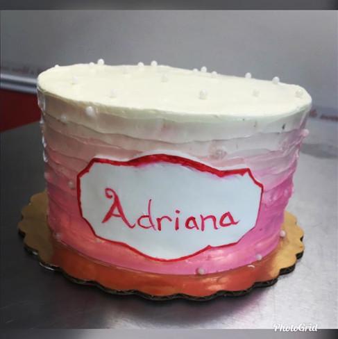 #simplebutcute #birthday #cake with custom #nameplaque #pinkombre.jpg