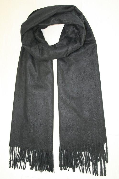 Echarpe unie, fleurs en relief, noir