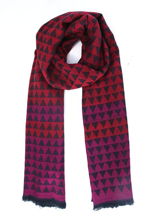 Echarpe en laine rouge intense-noir