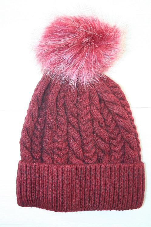 Bonnet avec pompon rouge chiné