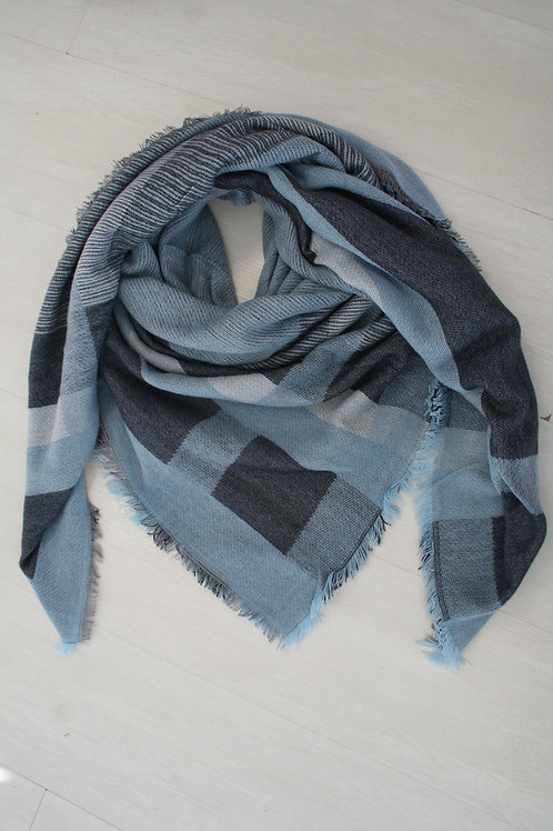 Grand carré bleu jeans/bleu marine/gris clair