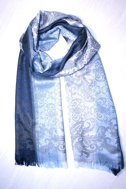 Echarpe jacquard gris-bleu nuit