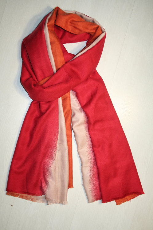Echarpe en molleton dégradée orange-beige-rouge