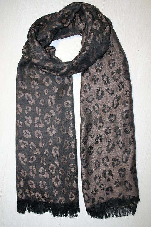 Echarpe fine imprimé léopard réversible taupe-noir