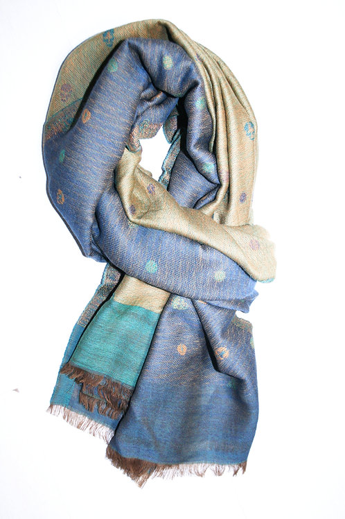 Echarpe en laine, reversible, bleu jeans-ocre-vert