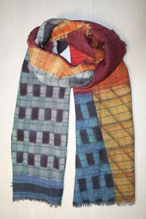 Echarpe en laine bleu jeans-gris-ocre-rouge