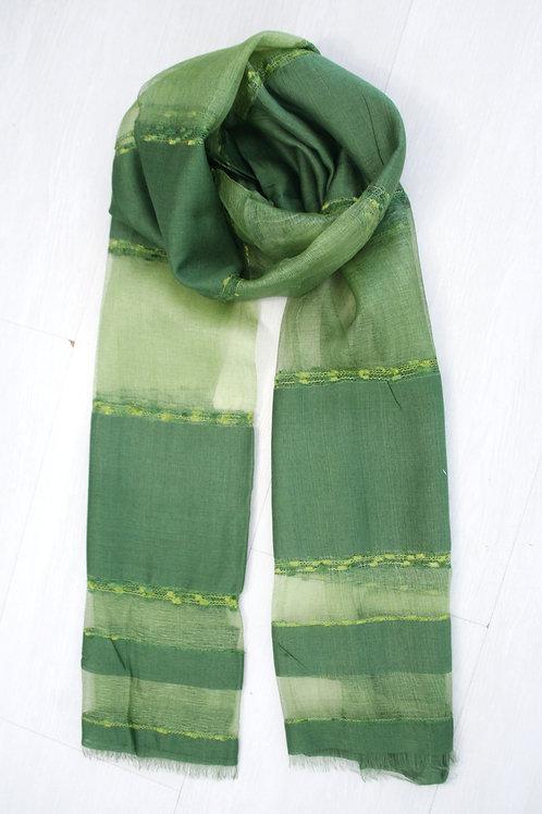 Foulard fin soie/viscose vert sapin