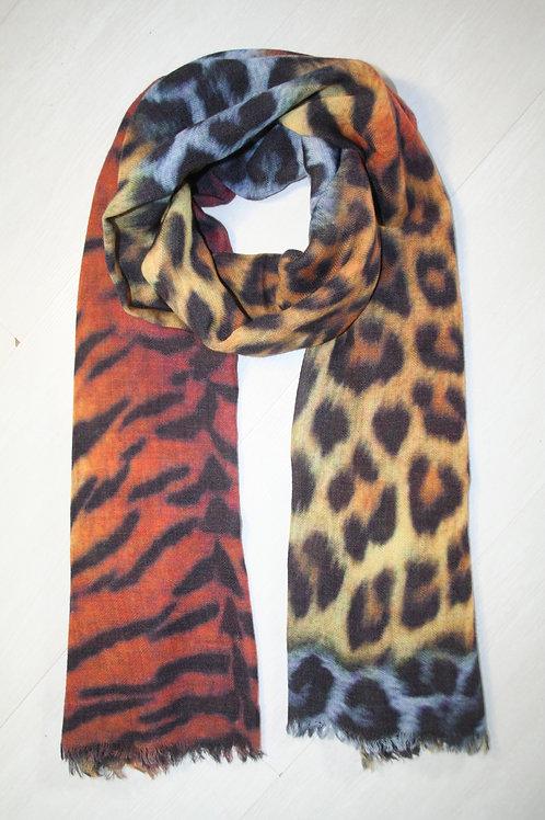Echarpe en laine imprimé animalier noir-ocre-roux-gris bleuté