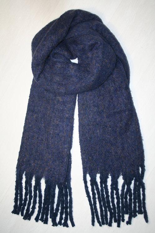Echarpe épaisse chînée bleu nuit-cuivre