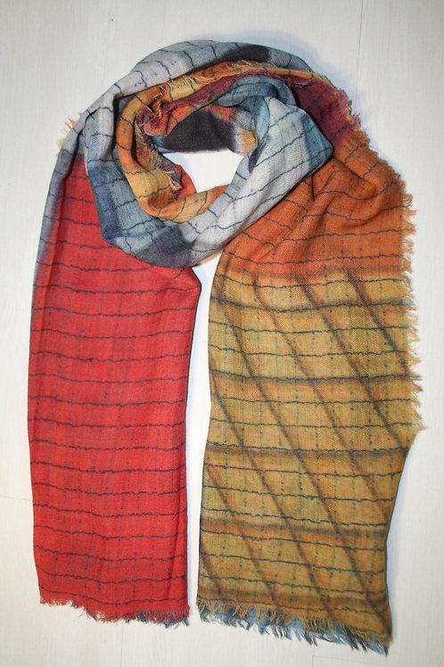 Echarpe en laine imprimé rouge-ocre-gris-bleu