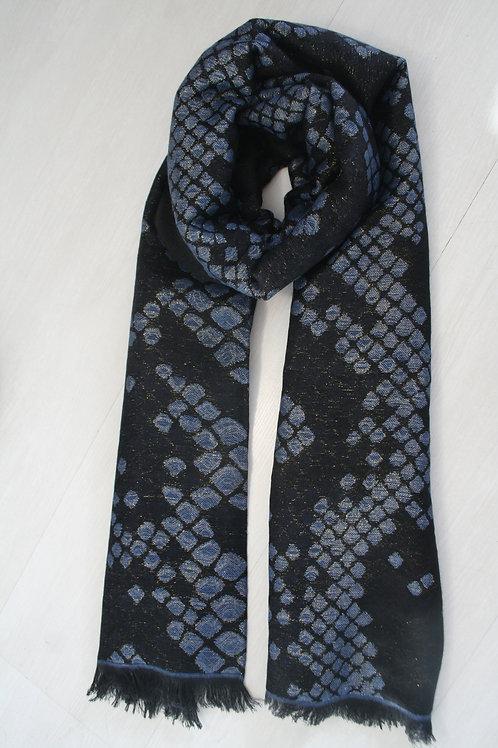 Echarpe an laine noir-bleu jeans-fil ocre brillant