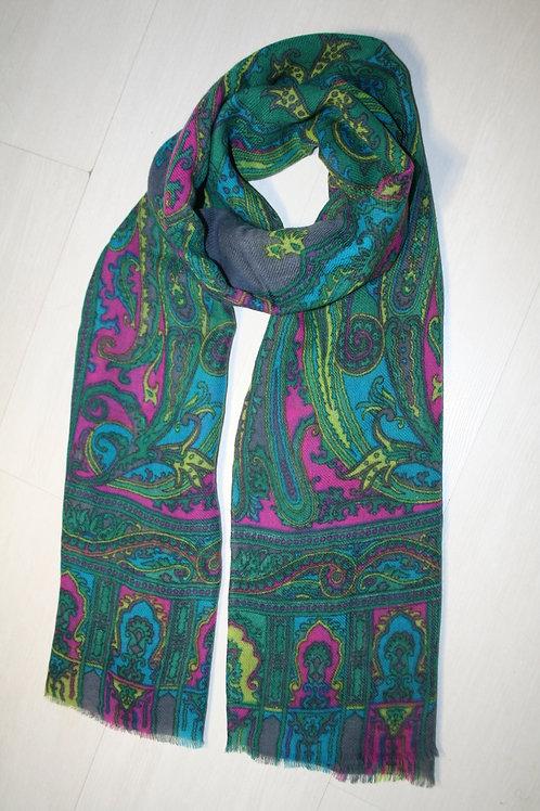 Echarpe en laine vert sapin-turquoise-gris-rose